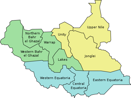 The Republic of South Sudan consists of 10 states